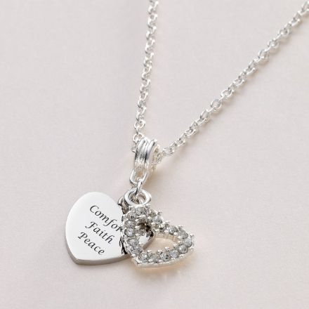 Engraved Heart Necklace with Crystal Heart
